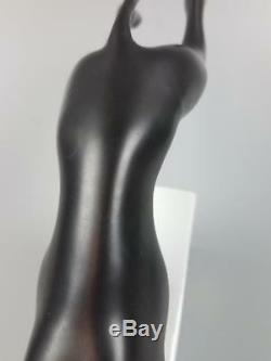 Stunning Art Deco Vtg Black Wht Royal Dux Porcelain Greyhound Figurine Sculpture