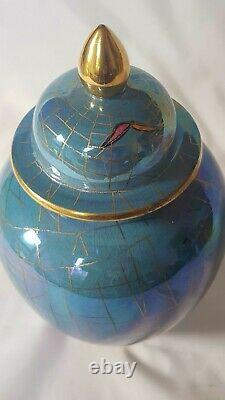 Stunning Blue Carlton Ware Lustre Glaze Cobwebs & Butterfly Art Deco Jar & Cover
