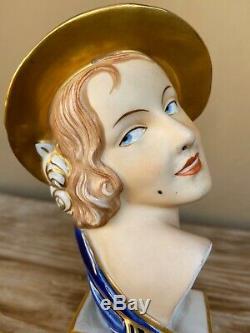 Stunning Royal Dux 1930 Art Deco porcelain bust of Elly Strobach. Czechoslovakia