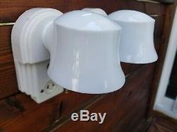 Superb 1930's Pair 2 Art Deco Porcelain BATHROOM LIGHT FIXTURES Sconce Light