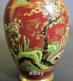 Superb Pair of CARLTON WARE Vases c. 1930 MINT Chinese Temple Art Deco
