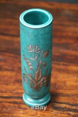 Swedish Art Deco tall vase ARGENTA by Gustavsberg 1929 silver signed porcelain