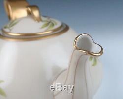 T&V Limoges FLORIDA Teapot Antique French Porcelain Orange Gold Tea Pot Deco