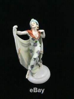 Traumhafte Art Deco Figur Tänzerin Arabic Dancing Lady Katzhütte Porcelain