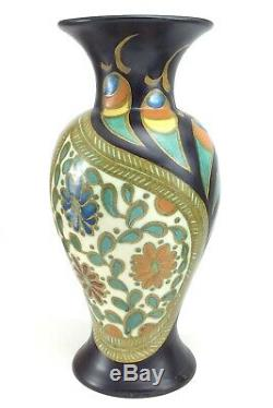 Two Antique Gouda Mantle Art Deco Era Vases Holland 804 Gerdy ADW 2 Set J953