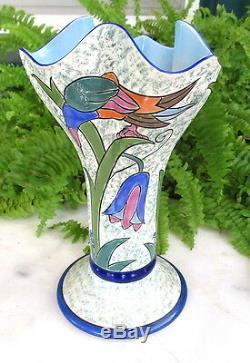 Unusual Art Deco Noritake Vase With Colorful Birds & Flowers