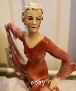 VINTAGE KATZHUTTE HERTWIG 1930s ART DECO PORCELAIN CRINOLINE DANCE LADY FIQURINE