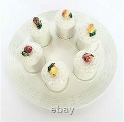 VNTG Italian Porcelain Lidded FRUITS Pots De Creme Cups with Serving Platter ITALY