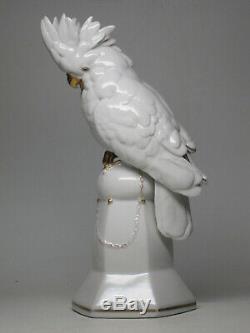 VTG 1914-45 Hertwig & Co Katzhutte Porcelain Cockatoo Art Deco German Gold White