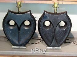 VTG Pair Ultra Modern Black & Gray Speckled Haeger Art Deco Pottery Owl Lamps