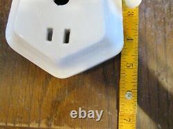 VTG Porcelain Wall Sconce Light Fixture -Pull Chain Plug In Milk Glass Art Deco