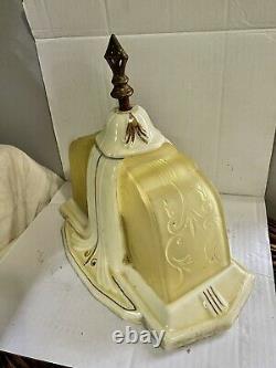VTG Porcelier Art Deco Glass Slip Shade Ceiling 2 Light Fixture Porcelain 1930s