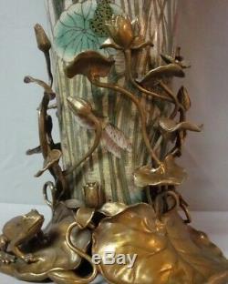 Vase Figurine Frog Art Deco Style Art Nouveau Style Porcelain Bronze
