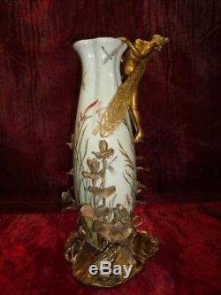 Vase Figurine Frog Elf Art Deco Style Art Nouveau Style Porcelain Bronze
