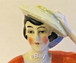 Vintage 1920s German Art Deco Lustre Porcelain Half Dolls & Heads Lot Of Three