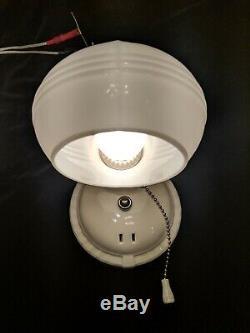 Vintage 1930's Art Deco Porcelain PORCELIER Bath Wall Sconce Light, Rewired