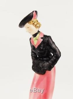 Vintage 1930s Art Deco Porcelain Figurine of Lady with a Dog Czechoslovakia