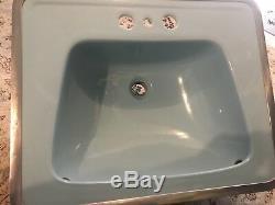 Vintage 1942 Case Art Deco Ceramic Blue PorcelainToilet Bowl Tank Lid & Sink