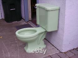 Vintage 1950 Green Porcelain Complete Toilet