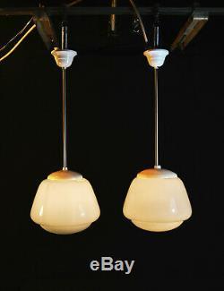 Vintage 1950s Original Art Deco Opaline milk glass school house lantern light