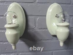 Vintage Antique Pair Porcelain Wall Sconces Vanity Lights Rare Celery Green