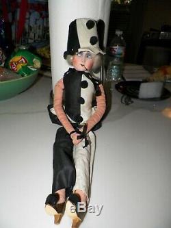 Vintage Art Deco Boudoir Doll Smoking Cigarette White Mohair Black & White Cloth
