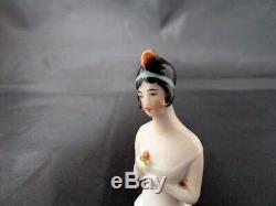 Vintage Art Deco Flapper Porcelain Pincushion Head / Half Doll Germany No. 5333