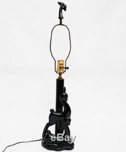 Vintage Art Deco / Mid Century Modern Black Ceramic Deer / Doe Lamp w Tiki Shade