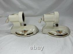 Vintage Art Deco Pair Ceramic Porcelain Bathroom Floral Wall Sconce Lights