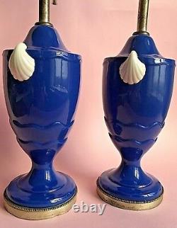 Vintage Art Deco Pair Table Lamps Porcelain Urn Cobalt Blue Sliver White Shell