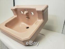 Vintage Art Deco Pink American Standard Bathroom Sink Porcelain Faucet Lavatory