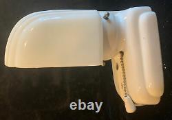 Vintage Art Deco Porcelain Milk Glass Bathroom Wall Light Fixture Sconce Outlet