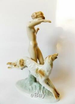 Vintage Art Deco era ROYAL DUX Diana The Huntress Porcelain Figurine, statuette
