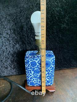 Vintage Blue on White Porcelain Chinese Lamp on Plinth Base
