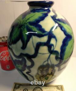 Vintage Camille THARAUD Limoges ceramic glazed porcelain signed blue green vase