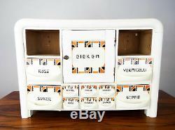 Vintage Dutch Brocante Kitchen Cabinet Herb Spice Rack Art Deco Porcelain 1930s