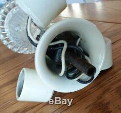 Vintage Frosted Glass Art Deco Ceiling Light Fixture Chandelier 14 Porcelier