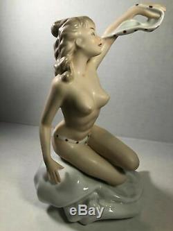 Vintage German Wallendorf Porcelain Nude Woman-Girl In Bikini At Beach RARE