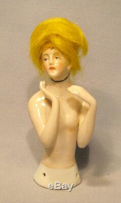 Vintage Germany Porcelain Lady with Blonde Wig Art Deco Half Doll Pin Cushion