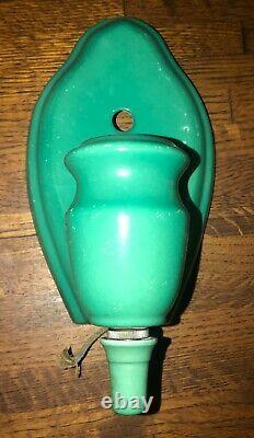 Vintage Green Art Deco Porcelain Sconce Bathroom Wall Fixture Light Pair