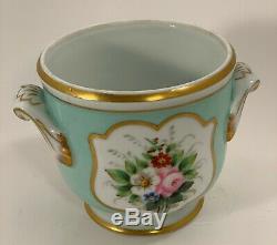 Vintage HP Porcelain CACHE Pot JARDINIERE Flowers GILT Vista Alegre VA Portugal