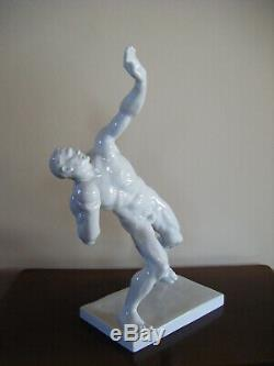 Vintage Herend Hungary Large Shot Put Nude Man Porcelain Figurine