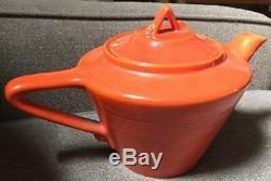 Vintage Homer Laughlin Harlequin Fiesta Ball Jug & Teapot- Orange/Red & Serving