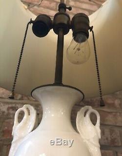 Vintage PAIR LENOX LAMPS Porcelain Art Deco SWAN HANDLES URN White