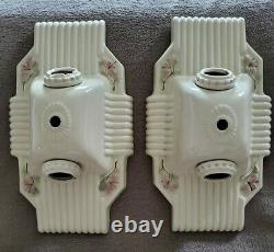 Vintage Pair Of Circa 1930 Art Deco Porcelain Light Fixtures