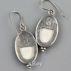 Vintage Porcelain Ceramic Handpainted Earrings Art Deco Enamel Sterliing Silver