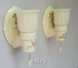 Vintage Porcelier Porcelain Sconces, Custard Glass Shades, rewired, excellent