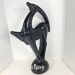 Vintage Royal Haeger Art Deco Gazelle Statue Black Deer Large 21