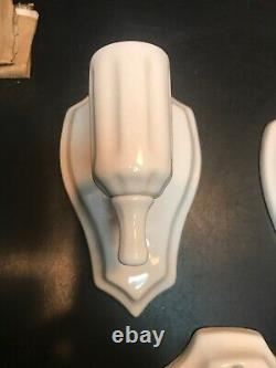 Vintage Set Of Three White Porcelain Art Deco Wall Scones. Tested And All 3 Work