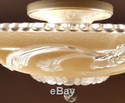 Vintage cream glass semi-flush original 1940s Art Deco Porcelain chandelier
